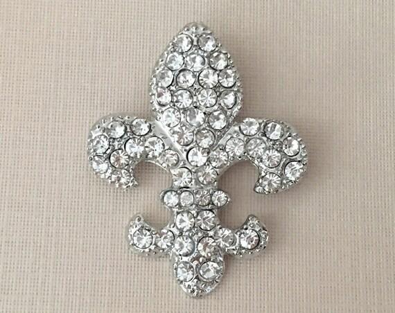 Rhinestone Silver Fleur de Lis Brooch Pin