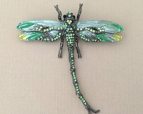 Large Green Dragonfly Brooch Pin and Pendant