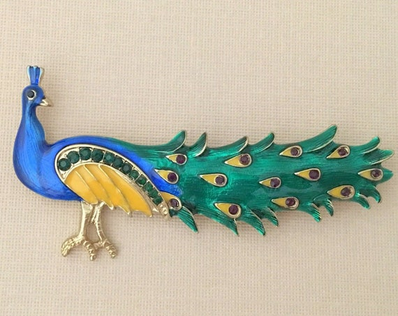 Blue Peacock Enamel Brooch.Gold Blue Peacock Brooch.Blue Peacock Rhinestone Brooch.Blue Gold Peacock Crystal Pin.Blue Green Peacock Brooch