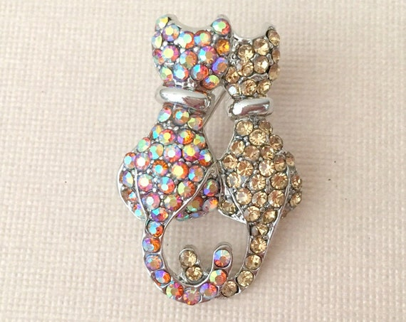 Two Cats Rhinestone Brooch Pin