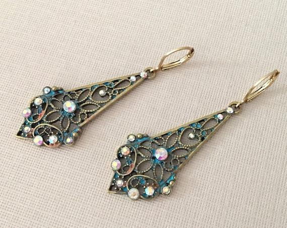 Antique Gold & Turquoise Boho Earrings