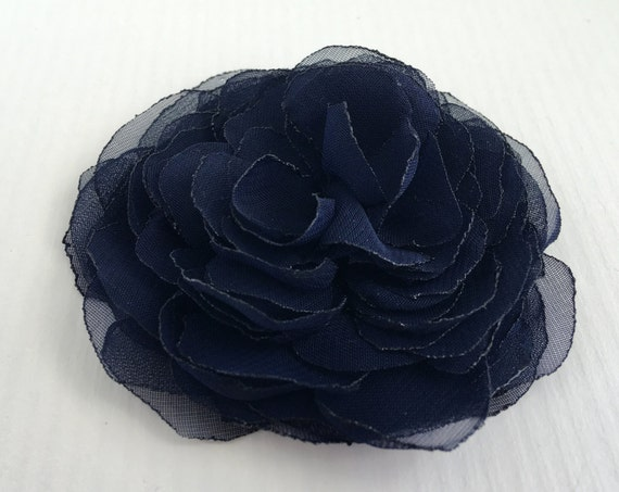 Navy Peony Flower Hair Clip or Brooch Pin. Choose your size. Handmade.