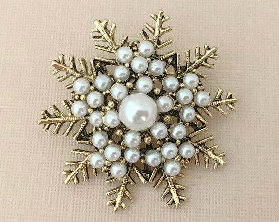 Antique Gold & Pearl Snowflake Brooch Pin