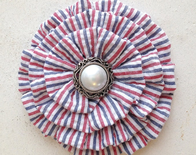 Red, White, & Blue Flower Brooch Pin and/or Hair Clip. Choose your button/bead finish. Handmade.