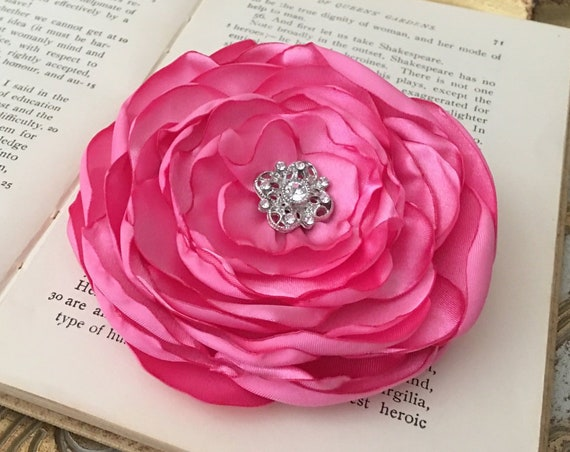 Pink Satin Flower Hair Clip or Brooch Pin. Choose size and button/bead finish. Handmade.