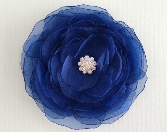 Sapphire Fabric Flower Hair Clip or Brooch Pin. Choose your size and button/bead finish. Handmade.