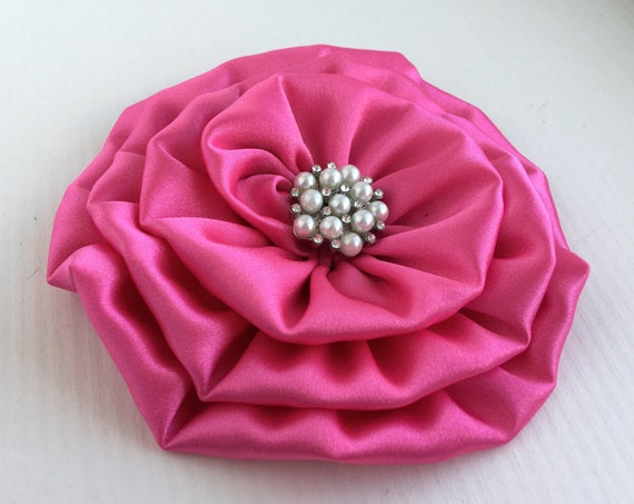 Large Hot Pink Satin Flower Hair Clip and/or Brooch Pin. Choose your button/bead finish. Handmade.