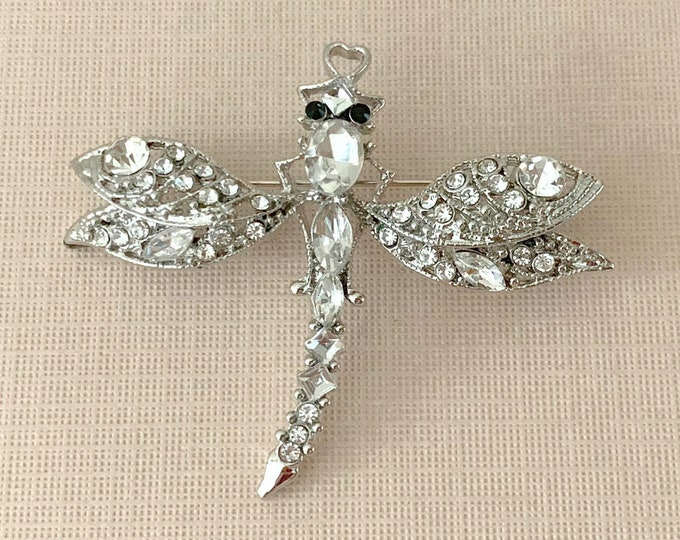Platinum Dragonfly  Brooch Pin