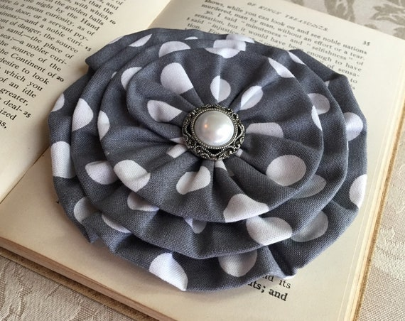 Gray & white Flower Brooch.Gray White flower Hair Clip.CHOOSE BUTTON.Gray White Polka Dot Flower Pin.Large Gray Flower Hair Piece.Headpiece