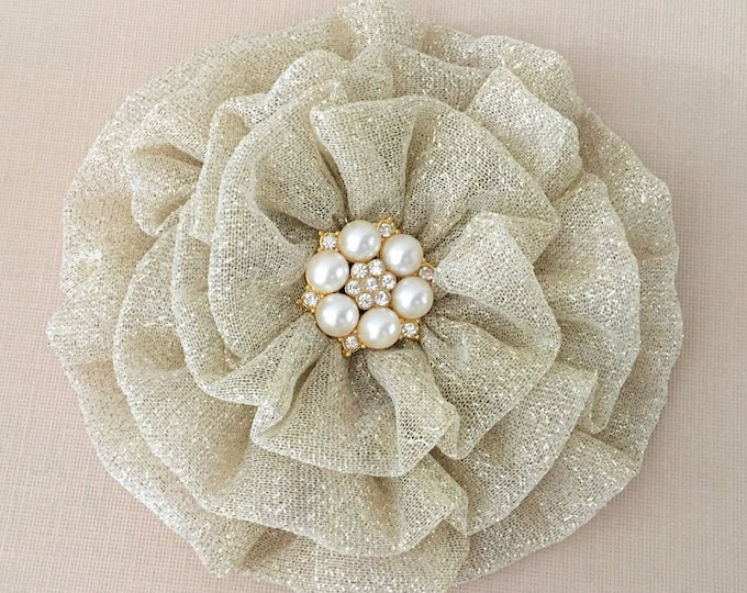 Large Gold Fabric Flower Hair Clip and/or Brooch Pin. Handmade.