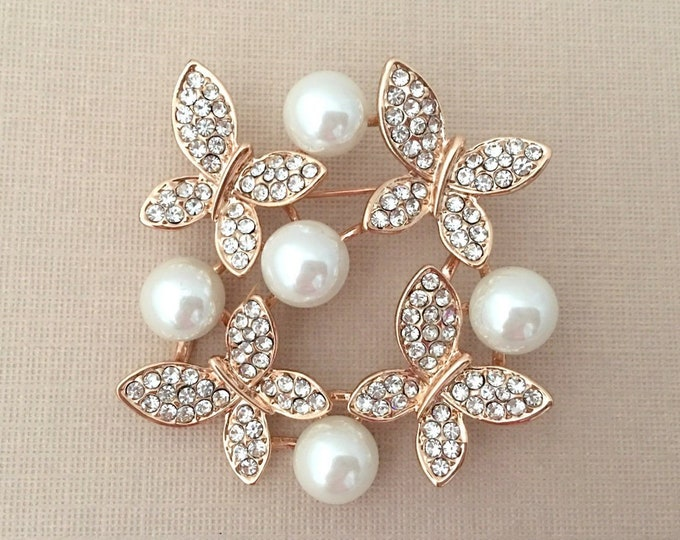 Rose Gold & Pearl Butterfly Brooch Pin