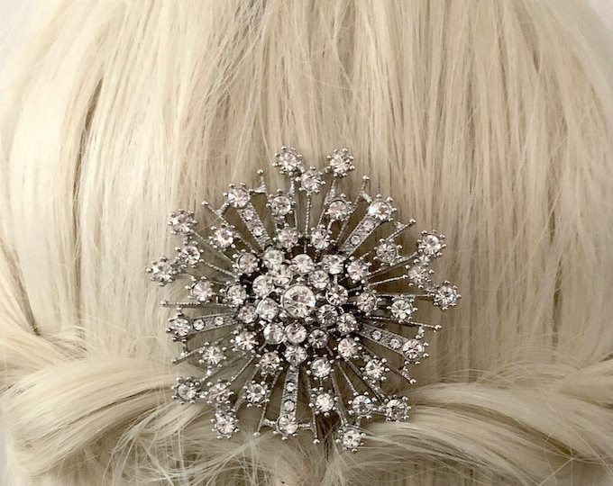 Art Deco Starburst Rhinestone Platinum Hair Piece. Vintage Style Hair Clip.