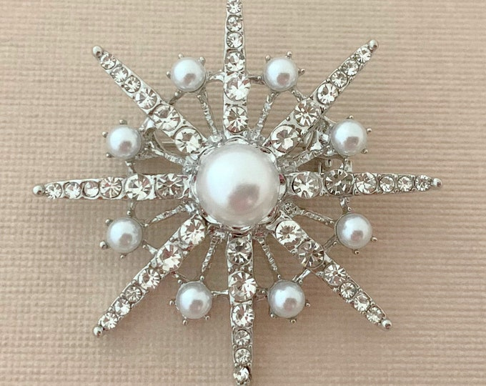 Pearl & Rhinestone Starburst Brooch Pin