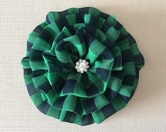 Kelly Green & Navy Blue Flower Brooch Pin or Hair Clip. Choose your button/bead finish. Handmade.