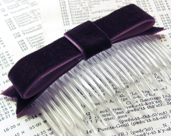 Eggplant Velvet Bow Hair Clip or Hair Comb