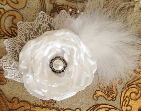White Bridal Flower Headpiece. CLEARANCE SALE, ready to ship.
