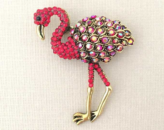 Red Flamingo Brooch.Flamingo Brooch.Flamingo Pin.flamingo rhinestone brooch.Flamingo Crystal Brooch.Red Antique Gold Brooch Pin.tropical Pin