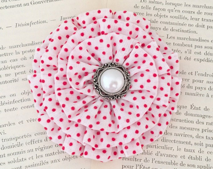 White Red Polka Dot Flower Hair Clip and/or Brooch Pin. Choose button/bead finish. Handmade.