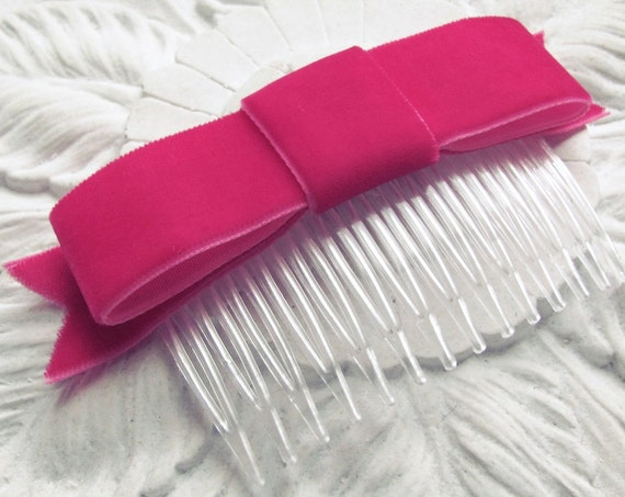 Hot Pink Velvet Ribbon Bow Hair Comb