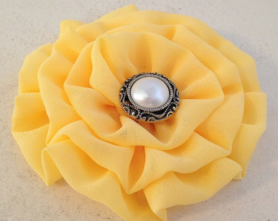 Yellow Fabric Flower Hair Clip and/or Brooch Pin. Choose your button/bead finish. Handmade.