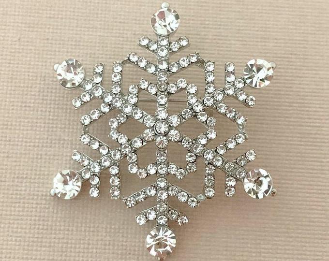 Platinum Snowflake Brooch Pin