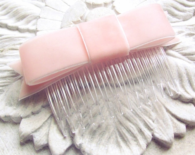 Blush Pink Velvet Bow Hair Clip or Hair Comb
