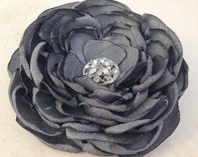 Charcoal Gray Fabric Flower Hair Clip and/or Brooch Pin. Choose your button/bead finish. Handmade.
