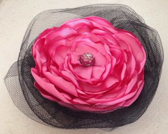 Large Black & Pink Fabric Flower Brooch Pin and/or Hair Clip. Choose button finish. Handmade.