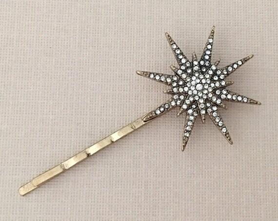 Antique Gold Rhinestone Starburst Bobby Pin