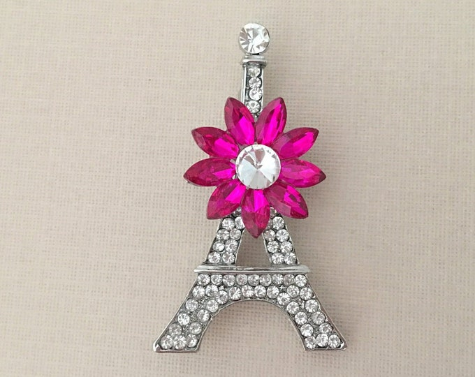 Pink Eiffel Tower Brooch Pin
