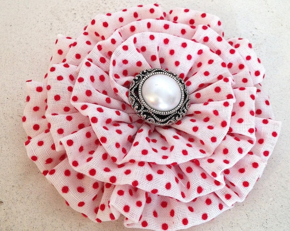 White & Red Polka Dot Fabric Flower Hair Clip and Brooch Pin. READY TO SHIP. Handmade.