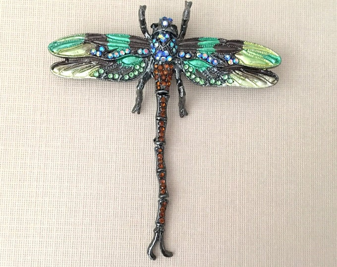 Green Enamel and Rhinestone Dragonfly Brooch Pin & Pendant