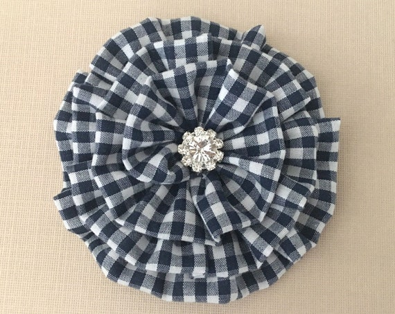 Navy Blue & White Gingham Flower Hair Clip and/or Brooch Pin. Choose your button/bead finish. Handmade.