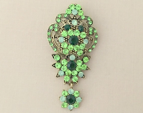 Emerald Green & Gold Rhinestone Brooch Pin and Pendant