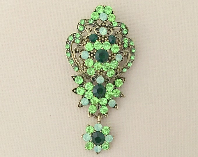 Emerald Green & Gold Rhinestone Brooch Pin and Pendant