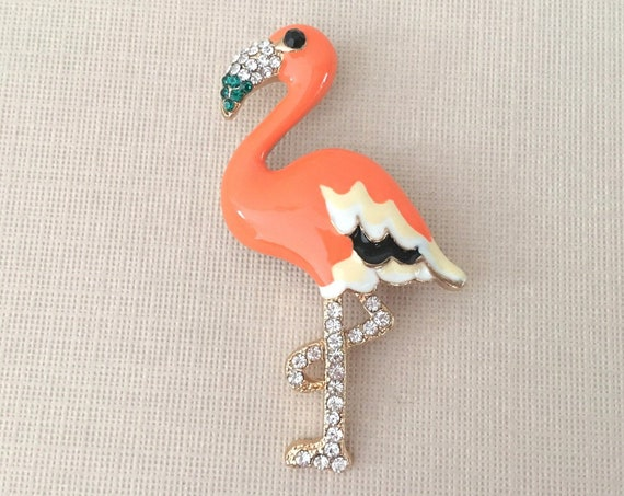 Orange Flamingo Pin.Flamingo Brooch.Flamingo Rhinestone Brooch.Flamingo Broach.Orange Flamingo Brooch.Enamel Flamingo Pin.Retro Style Pin