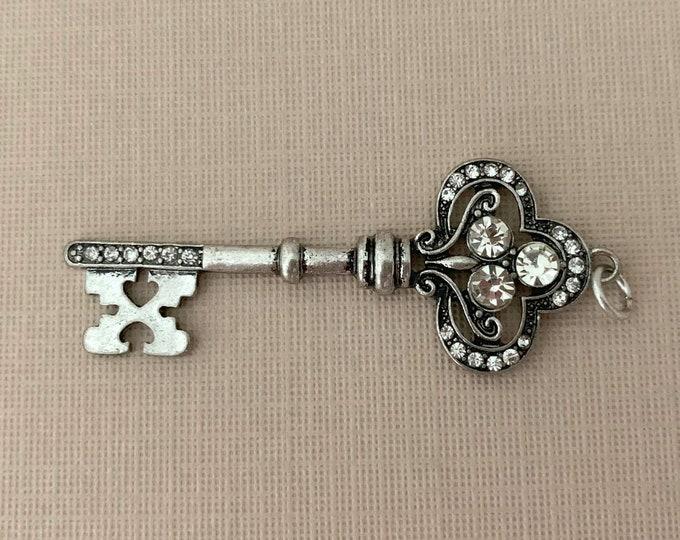 Silver & Rhinestone Key Pendant