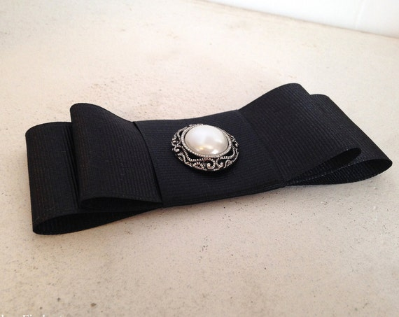 Black Double Bow French Barrette or Hair Clip. Optional Button.