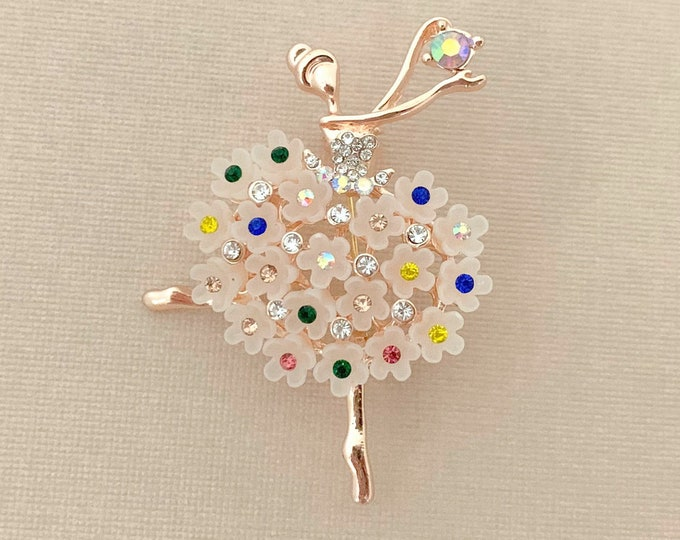 ROSE GOLD Ballerina Rhinestone Brooch Pin