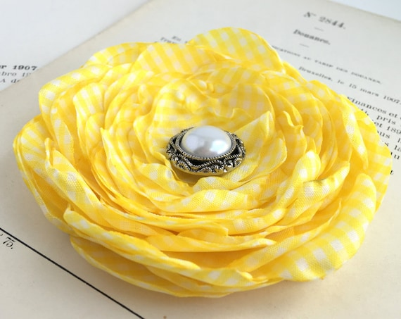 Yellow & White Gingham Hair Clip or Brooch Pin. Choose your size and button/bead finish. Handmade.