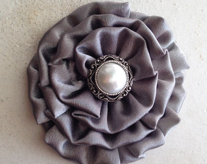 Platinum Gray Fabric Flower Headpiece and/or Brooch Pin. Choose button/bead finish. Handmade.