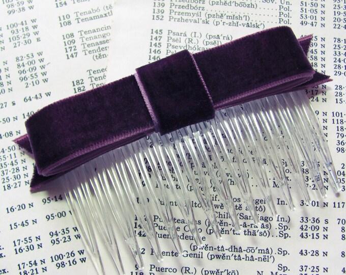 Eggplant Velvet Bow Hair Clip or Hair Comb. Handmade.
