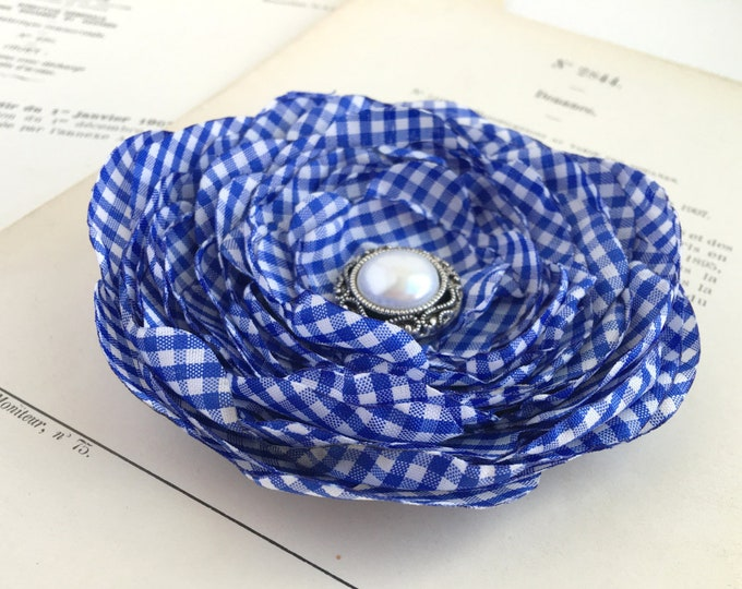 Royal Blue & White Gingham Brooch Pin or Hair Clip. Choose your size and button/bead finish. Handmade.