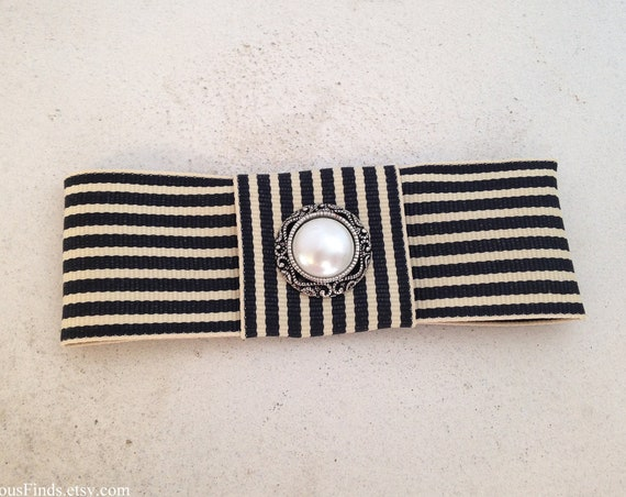 Black & Cream Striped Bow French Barrette or Hair Clip