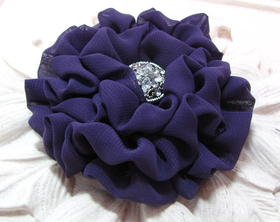 Eggplant Chiffon Flower Hair Clip and/or Brooch Pin. Choose button/bead finish. Handmade.