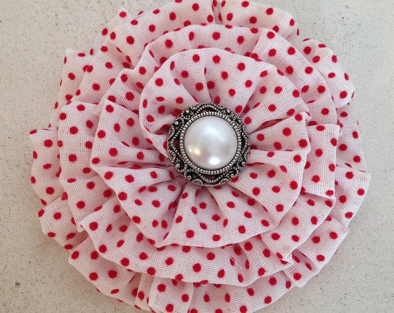 White Red Hair Clip.White Red Flower Brooch.White Red Flower Pin.Swiss dot.headpiece.hair accessory.White Red Polka Dot Fabric Flower Brooch