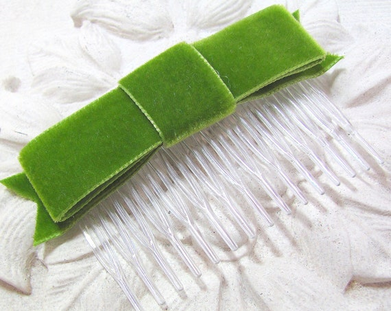 Moss Green Velvet Bow Hair Comb or Hair Clip. CLEARANCE SALE