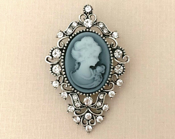Gray Crystal Cameo Brooch Pin
