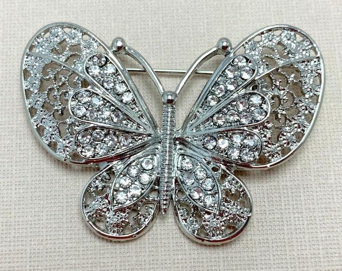 Rhinestone & Platinum Butterfly Brooch Pin
