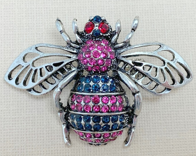 Purple Silver Rhinestone Bee Brooch Pin